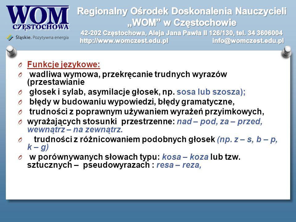 Funkcje językowe: wadliwa wymowa, przekręcanie trudnych wyrazów (przestawianie. głosek i sylab, asymilacje głosek, np. sosa lub szosza);
