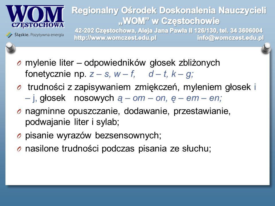 mylenie liter – odpowiedników głosek zbliżonych fonetycznie np
