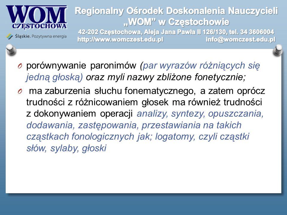 porównywanie paronimów (par wyrazów różniących się jedną głoską) oraz myli nazwy zbliżone fonetycznie;