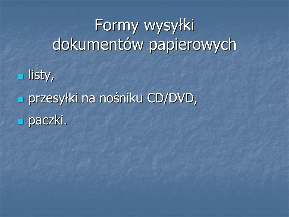 Formy wysyłki dokumentów papierowych