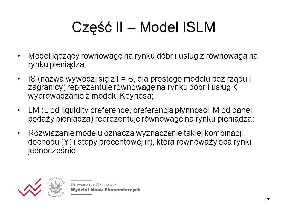 Część II – Model ISLM Model łączący równowagę na rynku dóbr i usług z równowagą na rynku pieniądza;