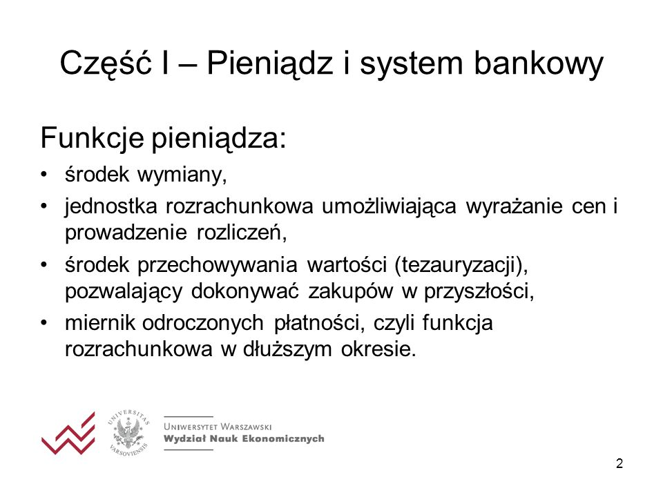 Część I – Pieniądz i system bankowy