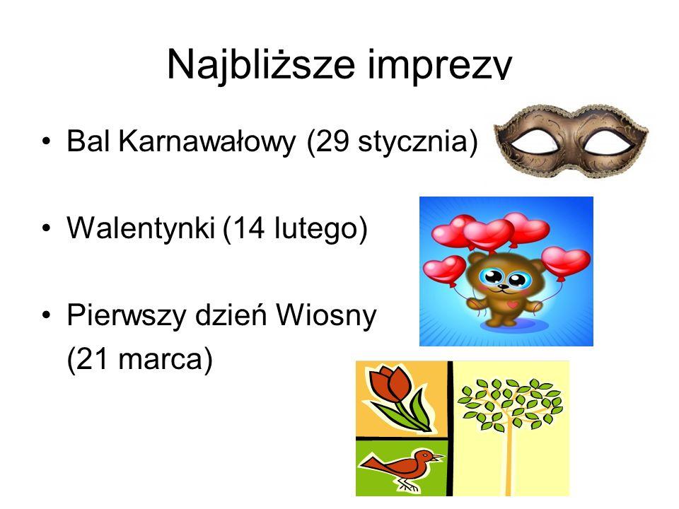 Najbliższe imprezy Bal Karnawałowy (29 stycznia)