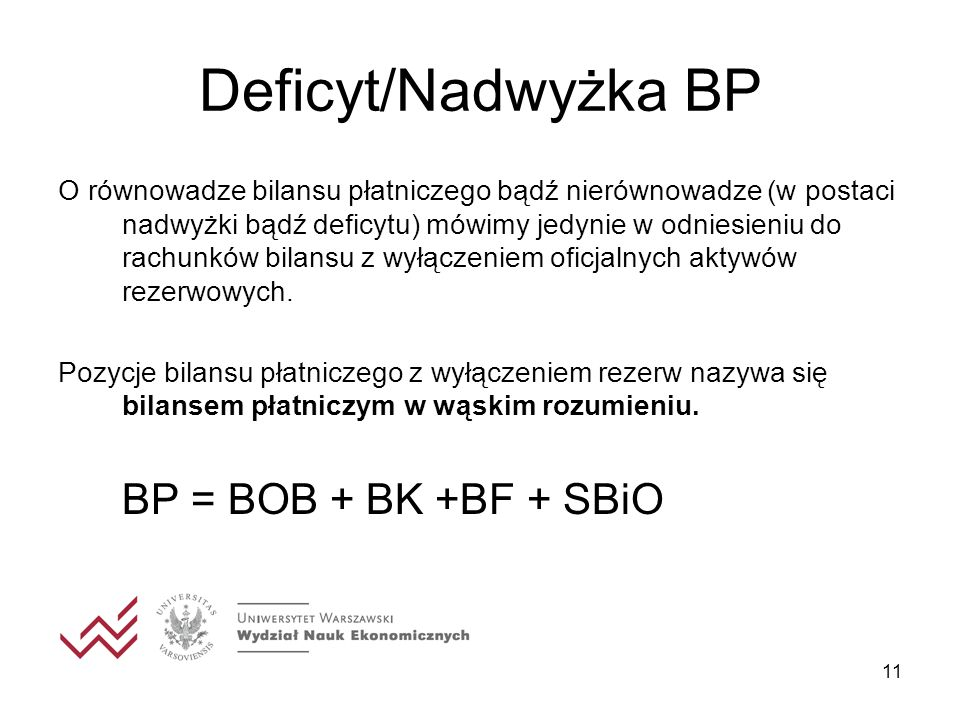 Deficyt/Nadwyżka BP BP = BOB + BK +BF + SBiO