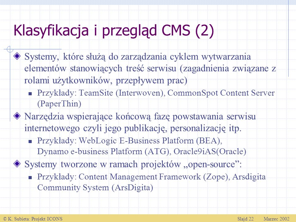 Klasyfikacja i przegląd CMS (2)