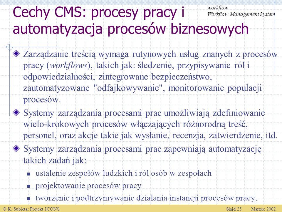 Cechy CMS: procesy pracy i automatyzacja procesów biznesowych