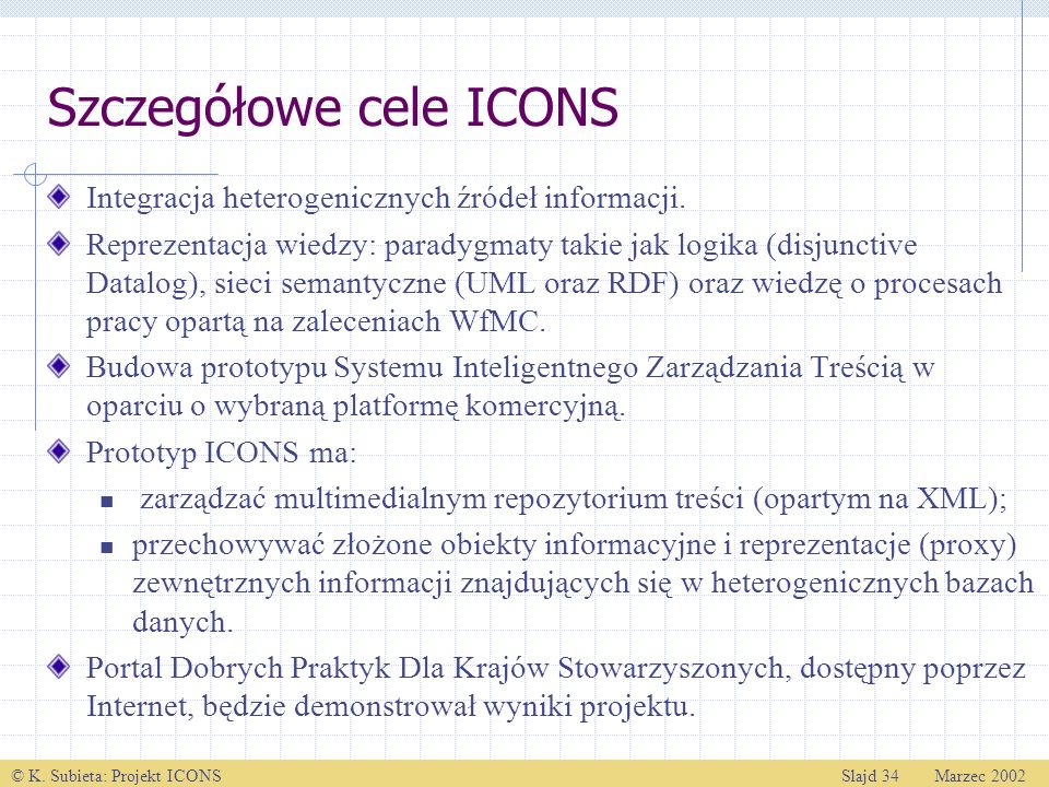 Szczegółowe cele ICONS