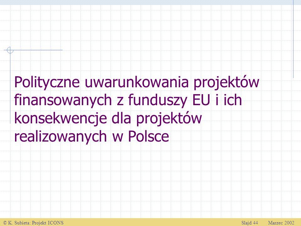 Polityczne uwarunkowania projektów finansowanych z funduszy EU i ich konsekwencje dla projektów realizowanych w Polsce