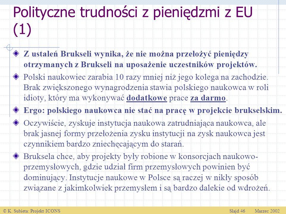 Polityczne trudności z pieniędzmi z EU (1)