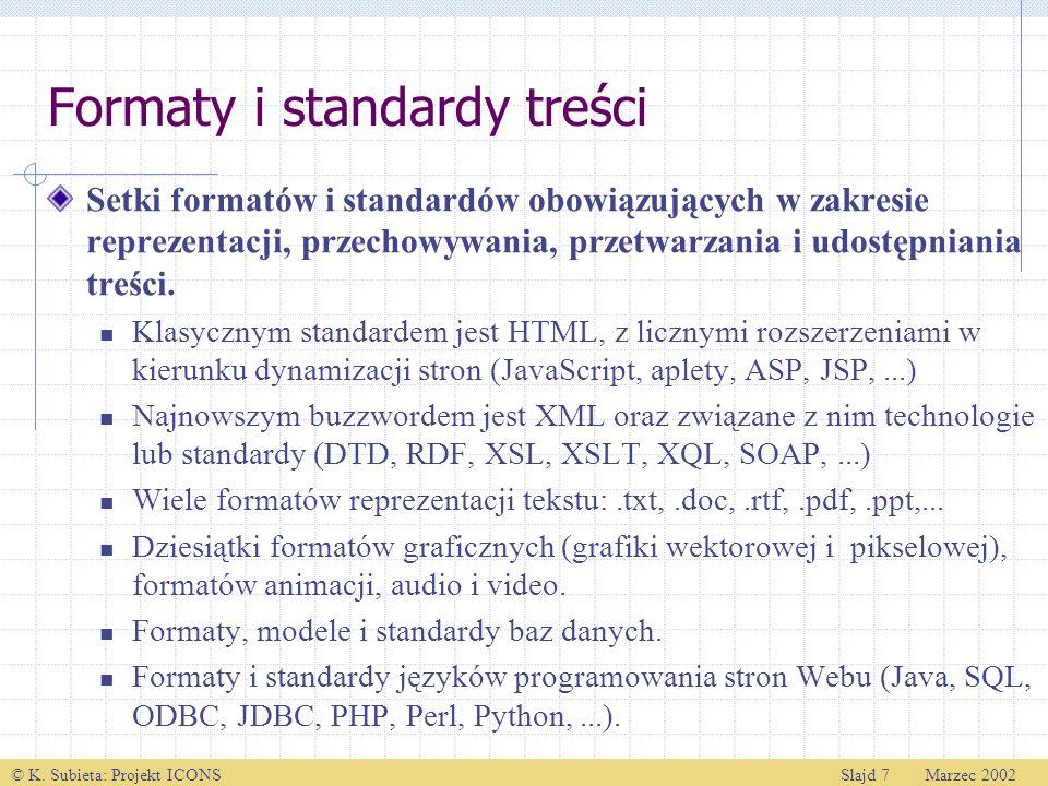 Formaty i standardy treści
