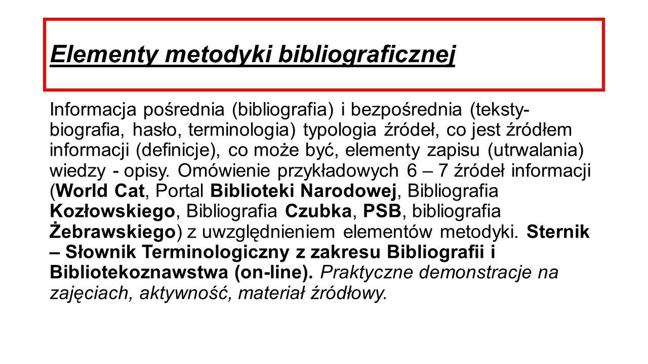 Elementy metodyki bibliograficznej