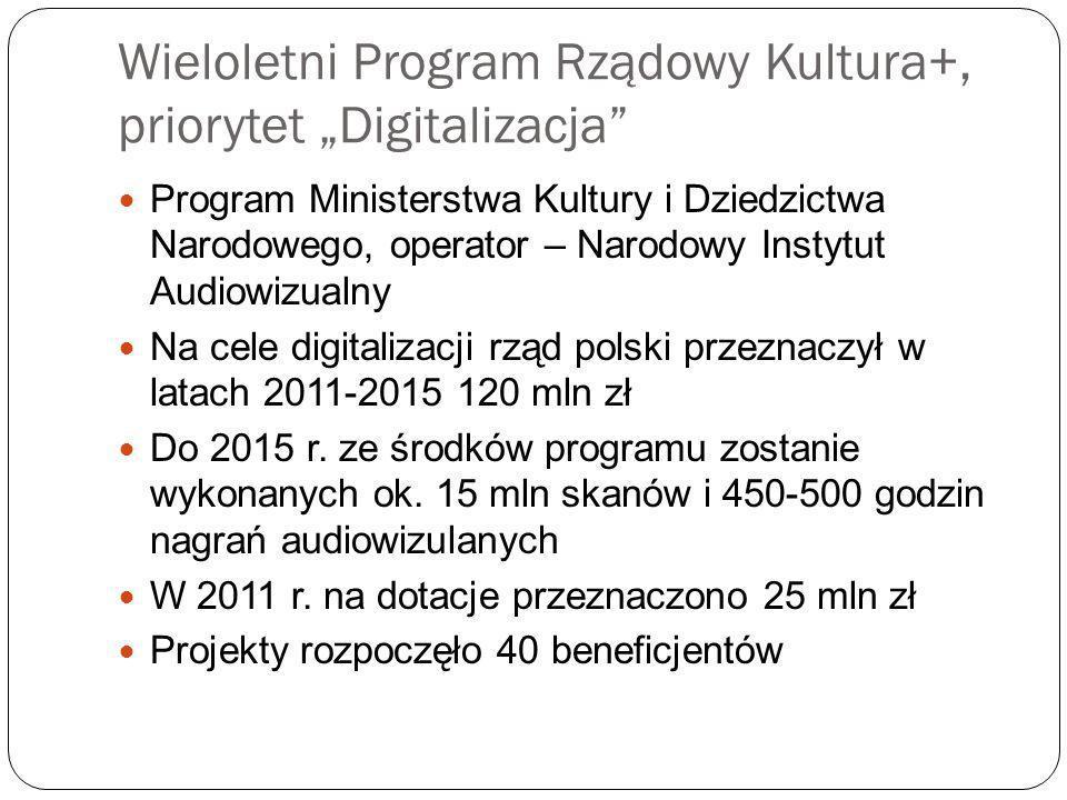 """Wieloletni Program Rządowy Kultura+, priorytet """"Digitalizacja"""