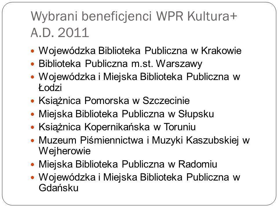 Wybrani beneficjenci WPR Kultura+ A.D. 2011