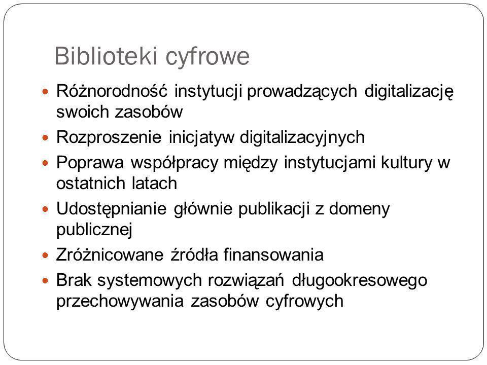 Biblioteki cyfrowe Różnorodność instytucji prowadzących digitalizację swoich zasobów. Rozproszenie inicjatyw digitalizacyjnych.