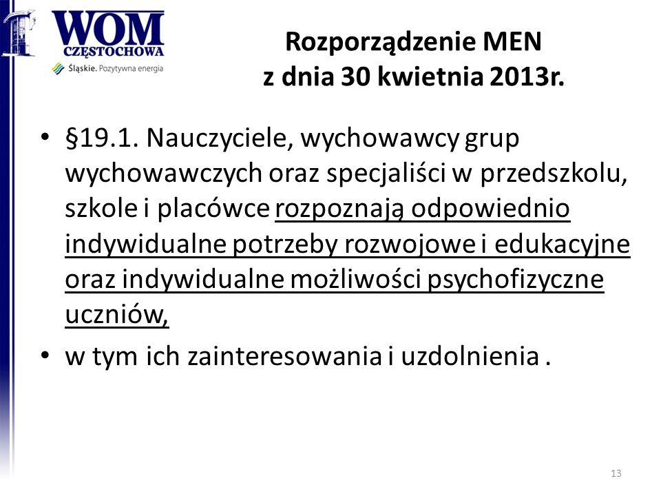 Rozporządzenie MEN z dnia 30 kwietnia 2013r.