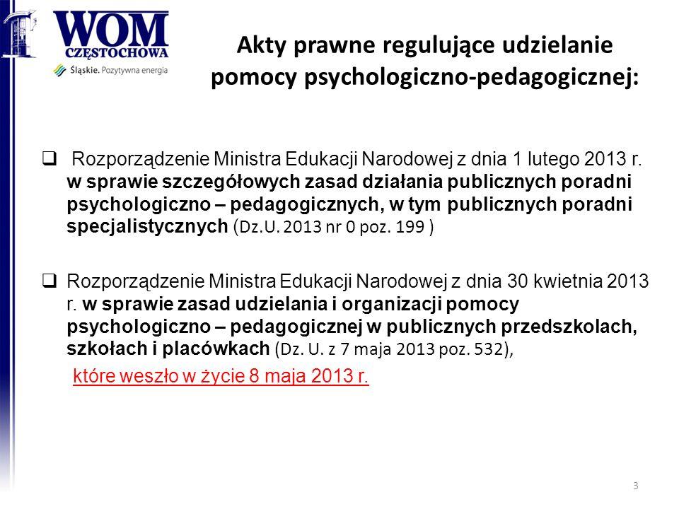 Akty prawne regulujące udzielanie pomocy psychologiczno-pedagogicznej: