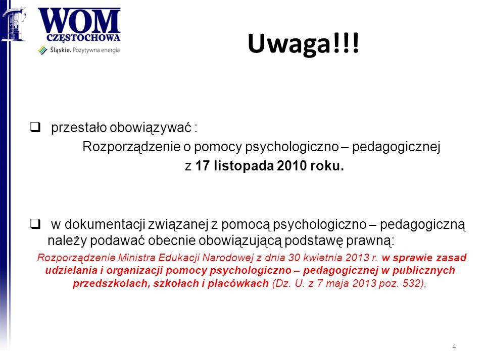Rozporządzenie o pomocy psychologiczno – pedagogicznej