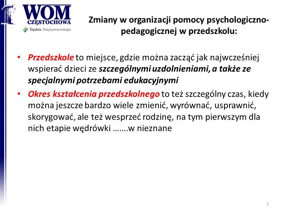 Zmiany w organizacji pomocy psychologiczno-pedagogicznej w przedszkolu: