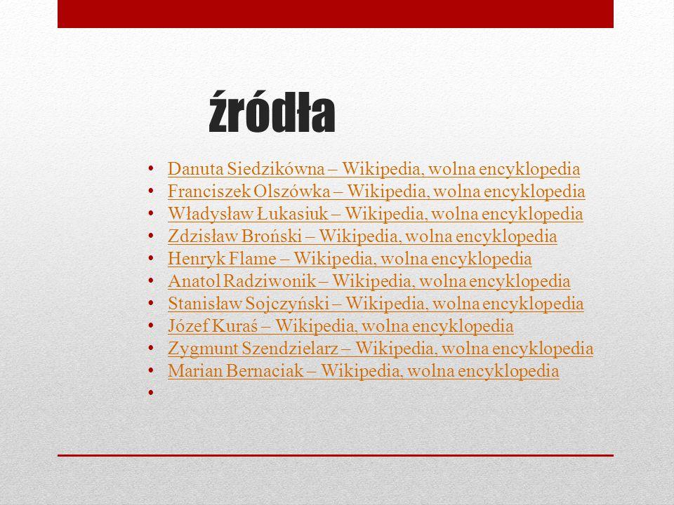 źródła Danuta Siedzikówna – Wikipedia, wolna encyklopedia
