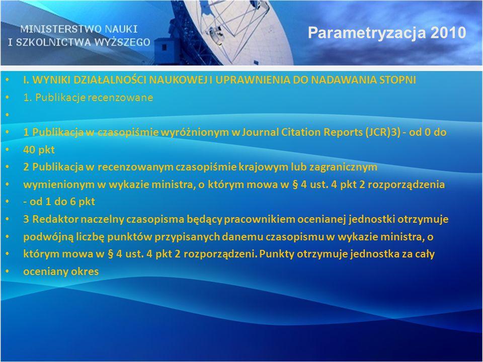 Parametryzacja 2010 I. WYNIKI DZIAŁALNOŚCI NAUKOWEJ I UPRAWNIENIA DO NADAWANIA STOPNI. 1. Publikacje recenzowane.