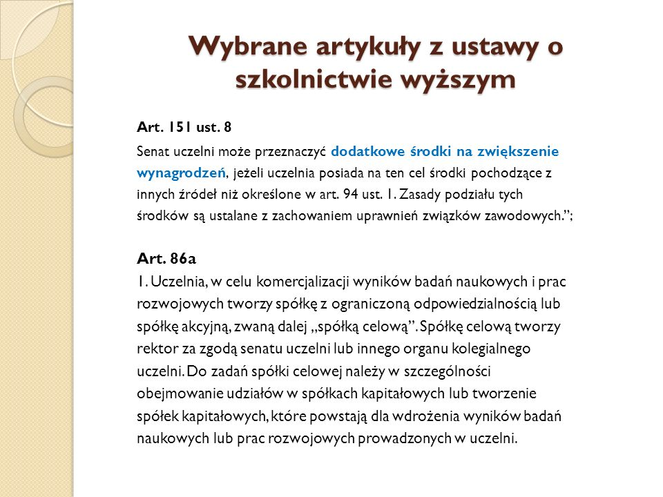 Wybrane artykuły z ustawy o szkolnictwie wyższym