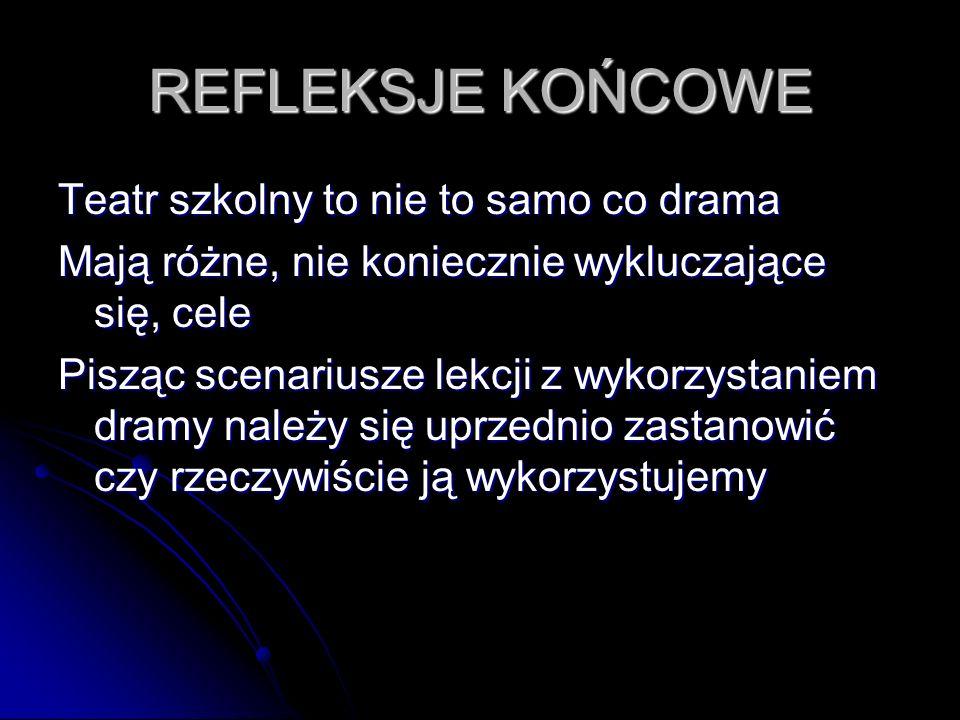 REFLEKSJE KOŃCOWE Teatr szkolny to nie to samo co drama