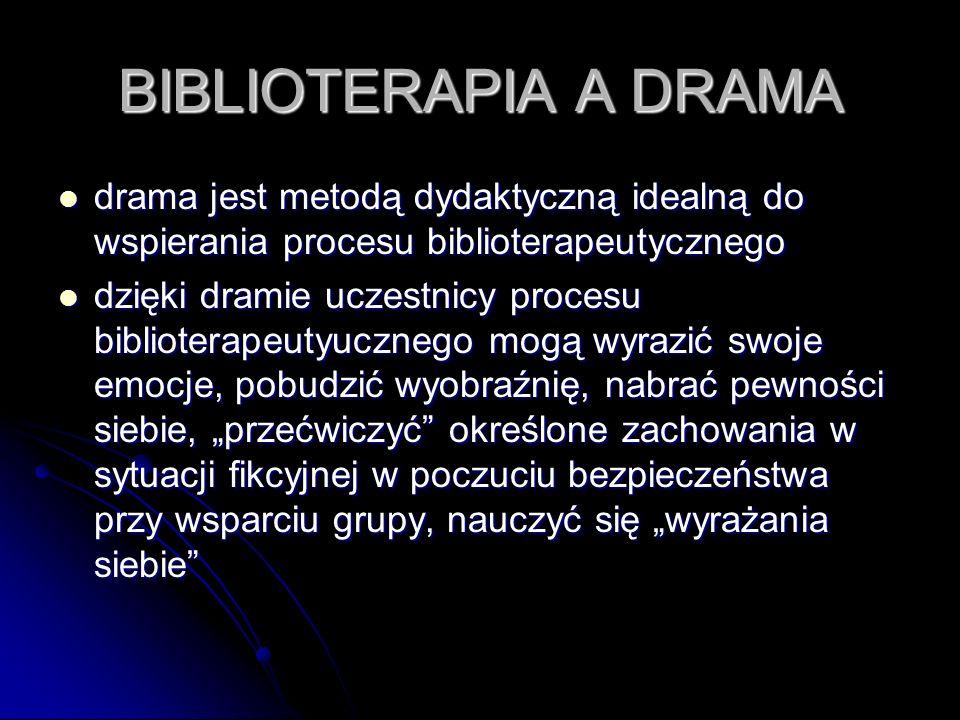 BIBLIOTERAPIA A DRAMA drama jest metodą dydaktyczną idealną do wspierania procesu biblioterapeutycznego.