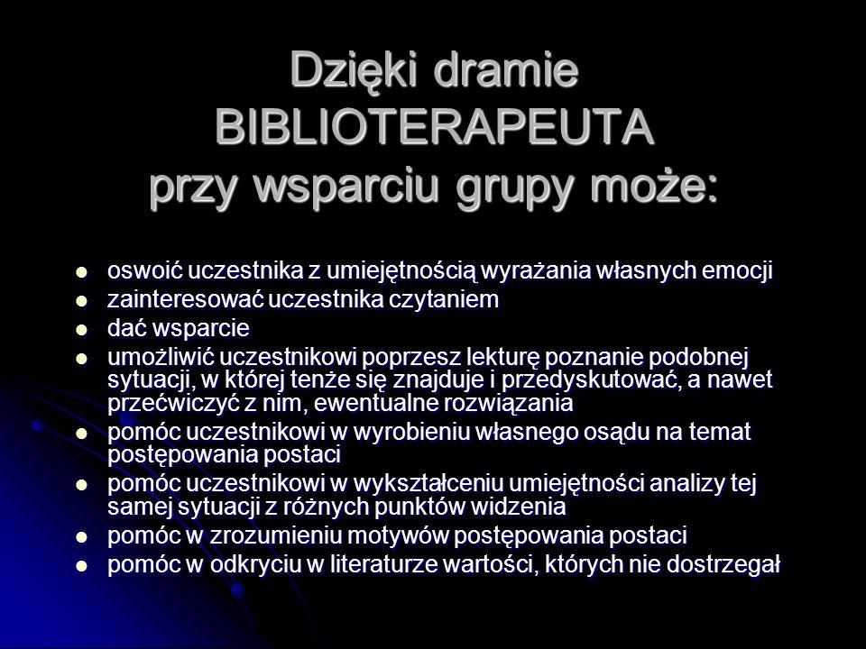 Dzięki dramie BIBLIOTERAPEUTA przy wsparciu grupy może: