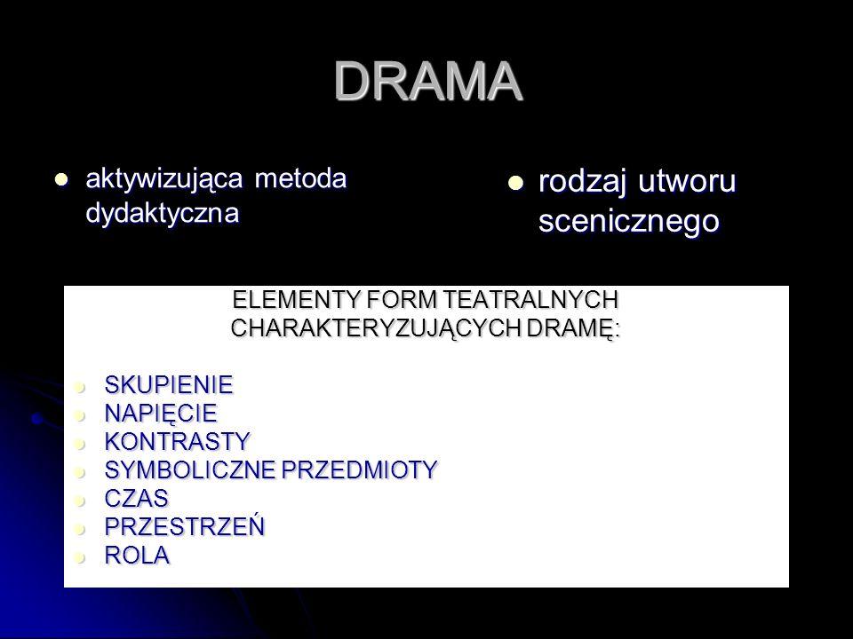 DRAMA rodzaj utworu scenicznego aktywizująca metoda dydaktyczna