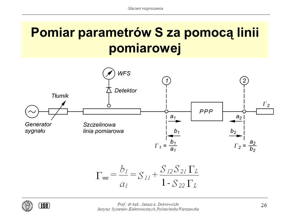 Pomiar parametrów S za pomocą linii pomiarowej