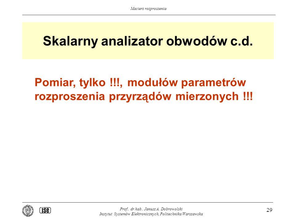 Skalarny analizator obwodów c.d.