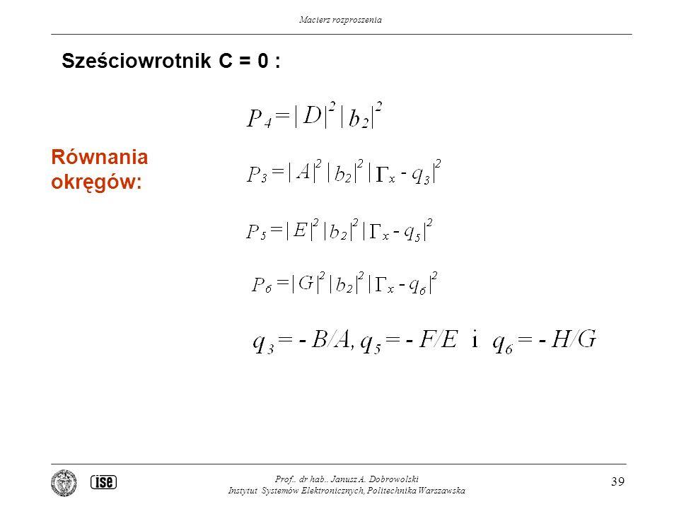 Sześciowrotnik C = 0 : Równania okręgów: