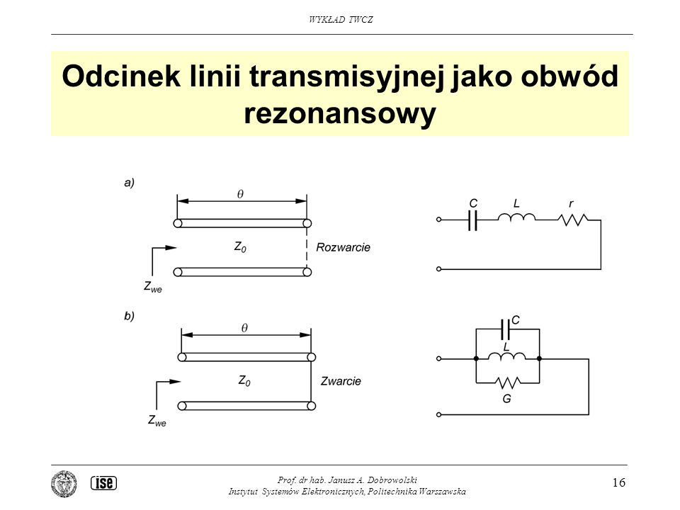 Odcinek linii transmisyjnej jako obwód rezonansowy