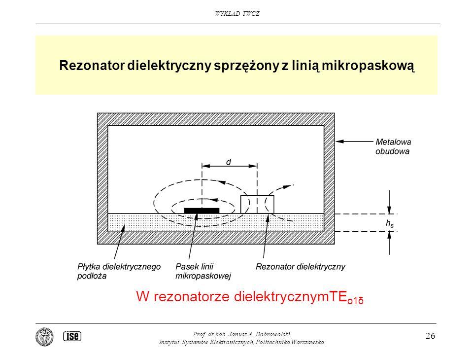 Rezonator dielektryczny sprzężony z linią mikropaskową