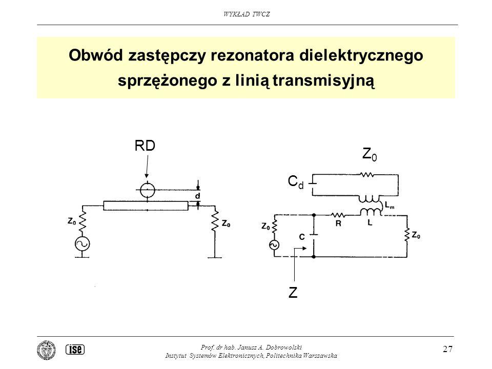 Obwód zastępczy rezonatora dielektrycznego sprzężonego z linią transmisyjną