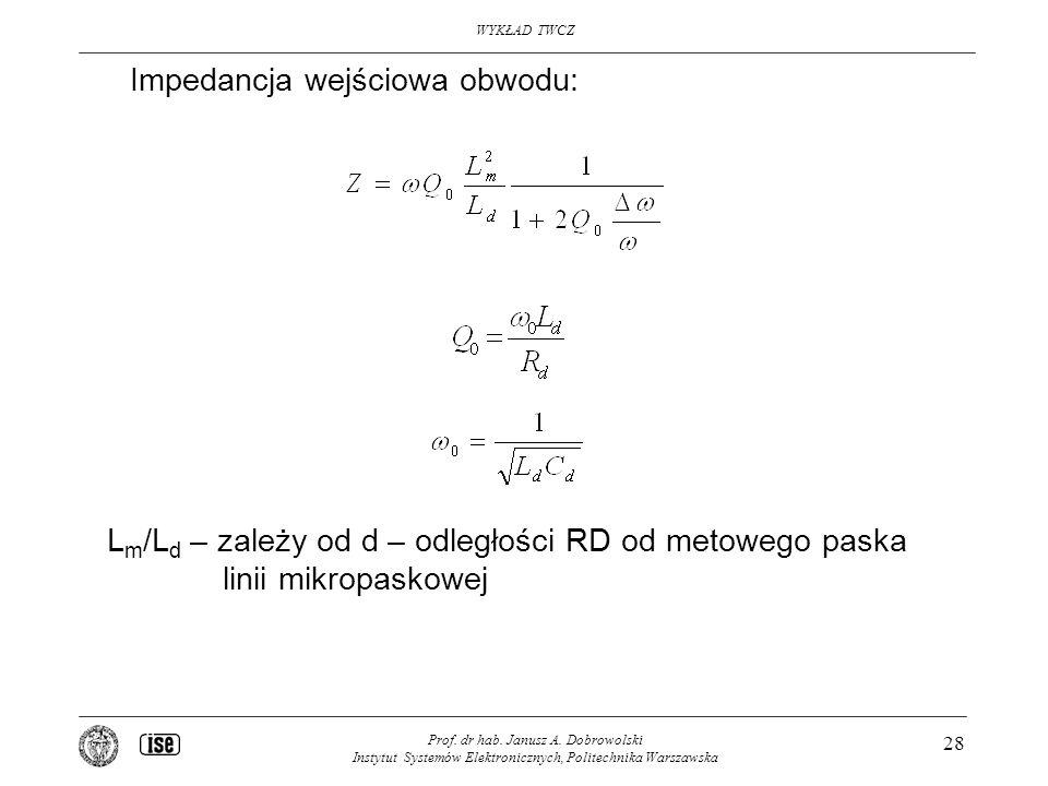 Impedancja wejściowa obwodu: