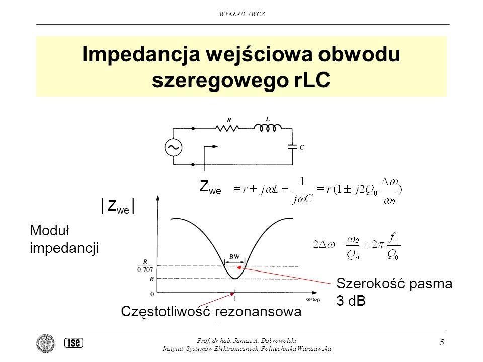 Impedancja wejściowa obwodu szeregowego rLC