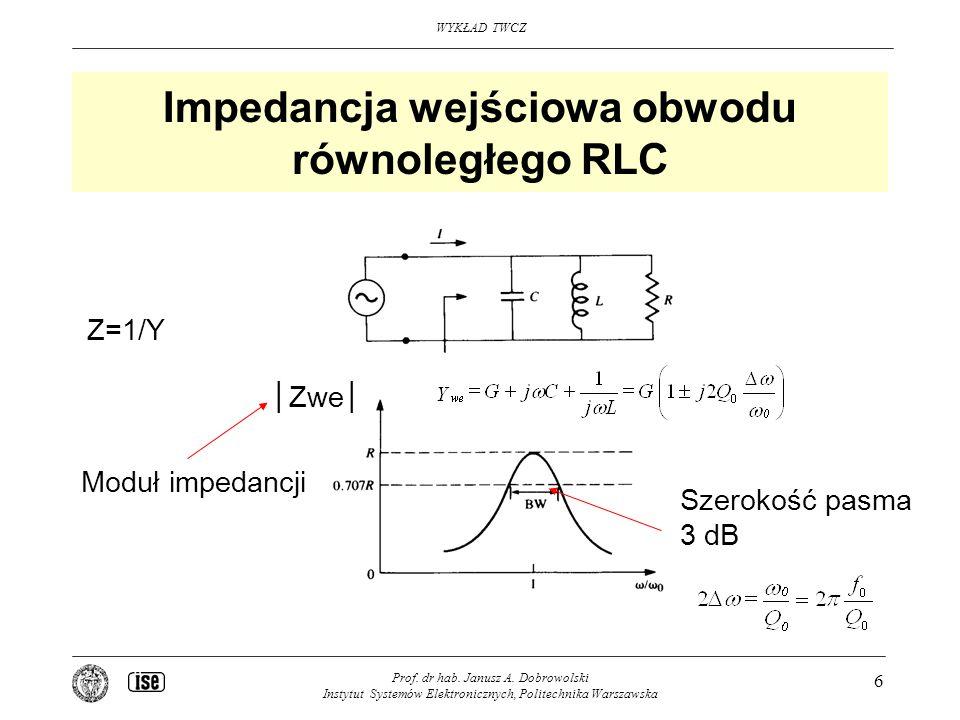 Impedancja wejściowa obwodu równoległego RLC