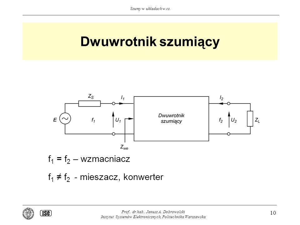 Dwuwrotnik szumiący f1 = f2 – wzmacniacz f1 ≠ f2 - mieszacz, konwerter