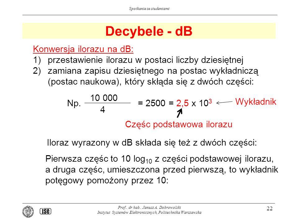 Decybele - dB Konwersja ilorazu na dB:
