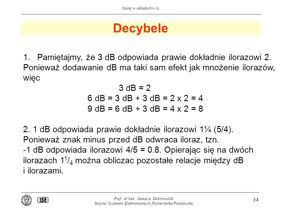 Decybele Pamiętajmy, że 3 dB odpowiada prawie dokładnie ilorazowi 2.