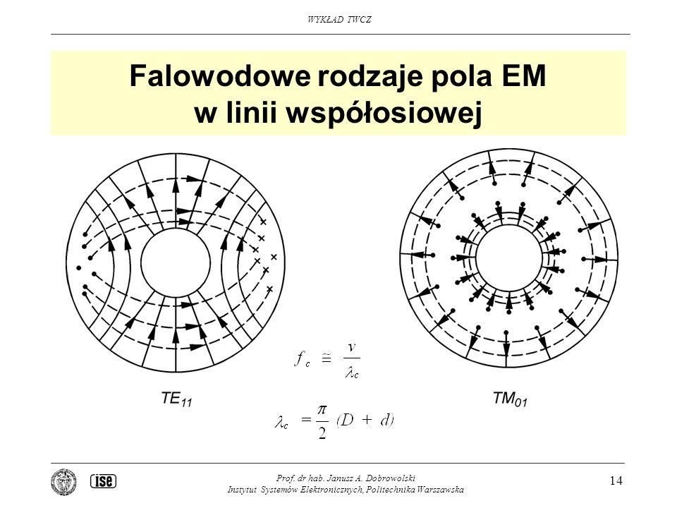 Falowodowe rodzaje pola EM w linii współosiowej