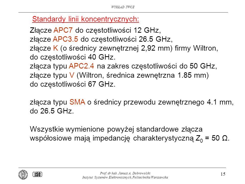 Standardy linii koncentrycznych: Złącze APC7 do częstotliwości 12 GHz,