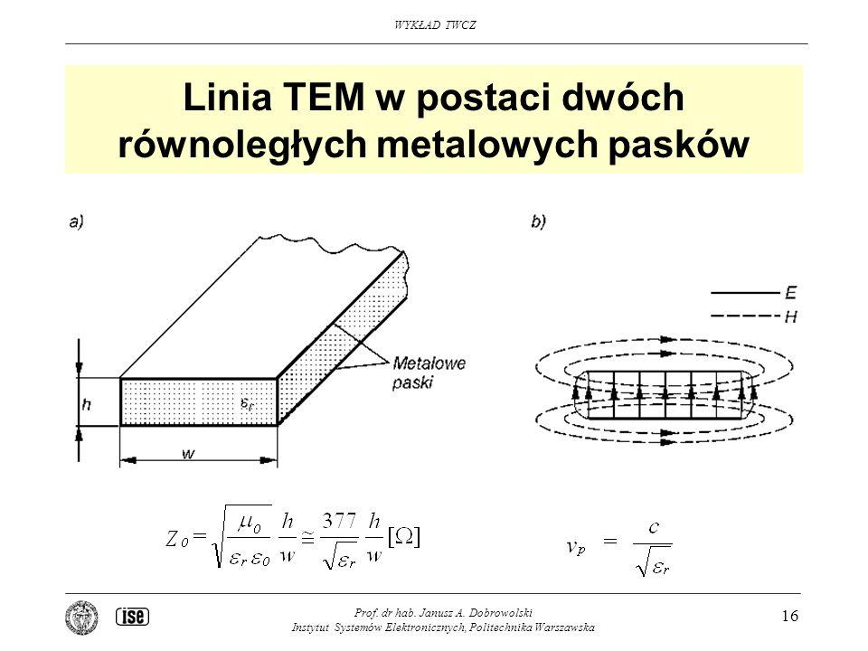 Linia TEM w postaci dwóch równoległych metalowych pasków