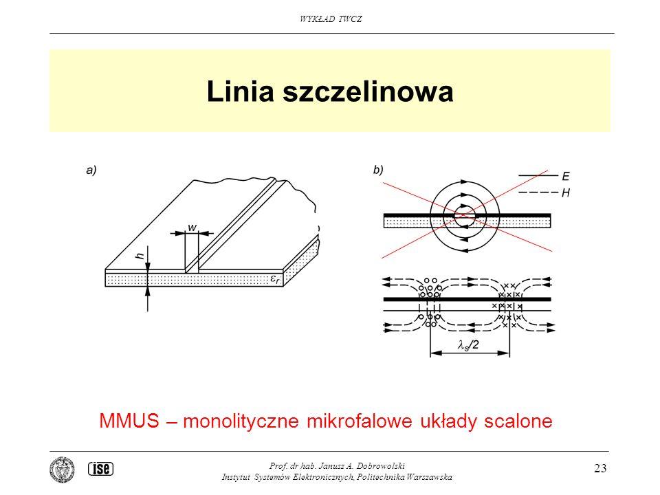Linia szczelinowa MMUS – monolityczne mikrofalowe układy scalone