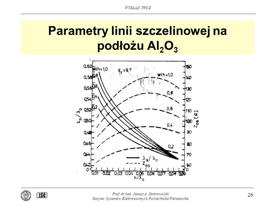 Parametry linii szczelinowej na podłożu Al2O3