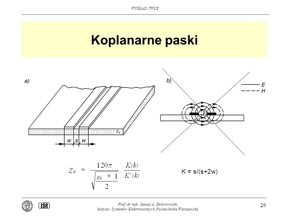 Koplanarne paski K = s/(s+2w)