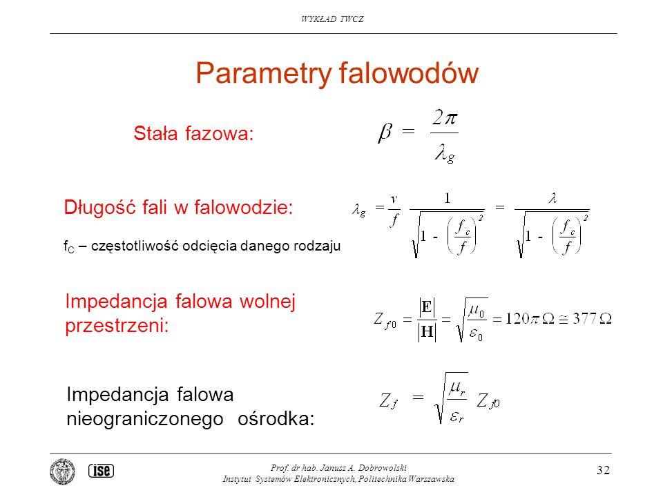 Parametry falowodów Stała fazowa: Długość fali w falowodzie: