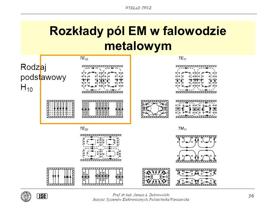 Rozkłady pól EM w falowodzie metalowym