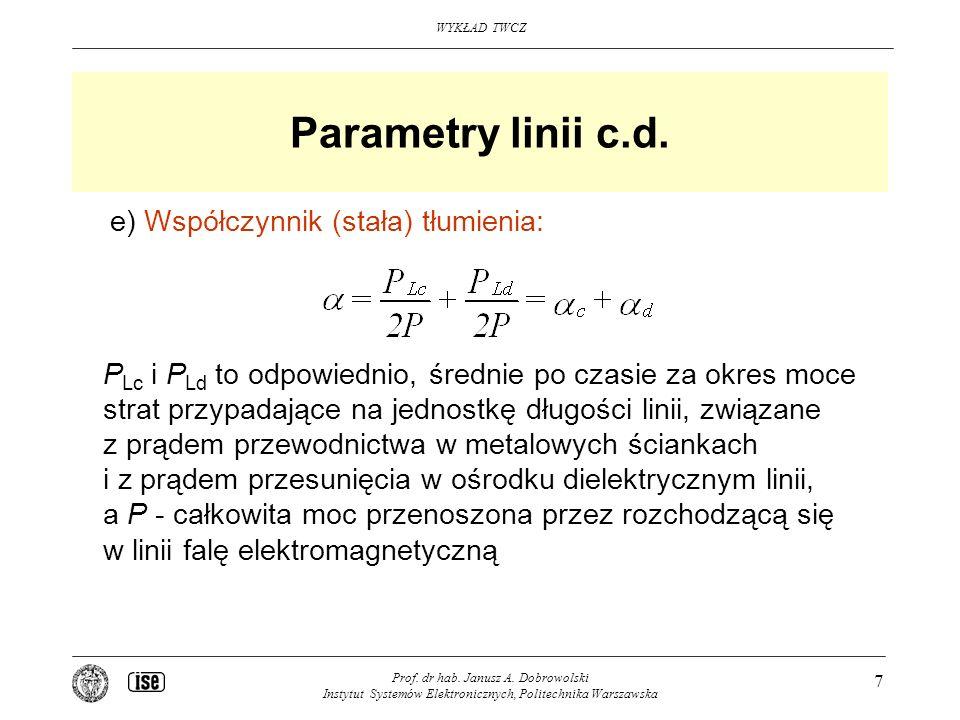 Parametry linii c.d. e) Współczynnik (stała) tłumienia: